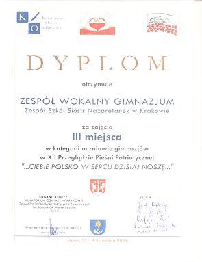 Zespół wokalny gimnazjum 3 miejsce 2016