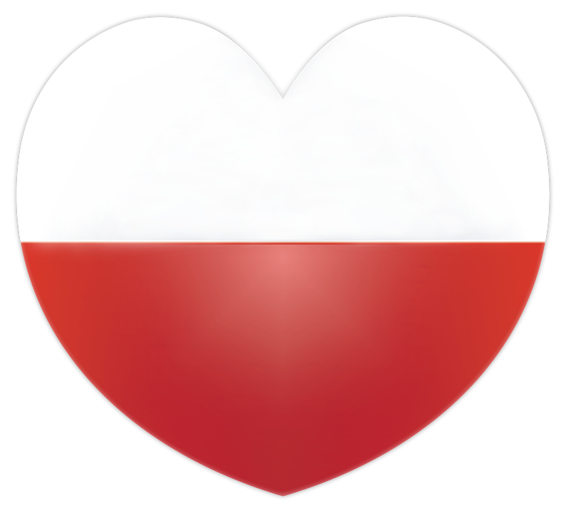 flaga Polski mini serce