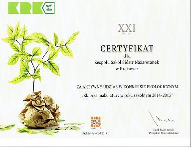 Certyfikat makulatura 2015